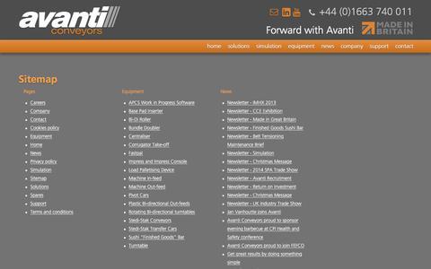 Screenshot of Site Map Page avanti-conveyors.co.uk - Sitemap - Avanti Conveyors - captured Nov. 21, 2016