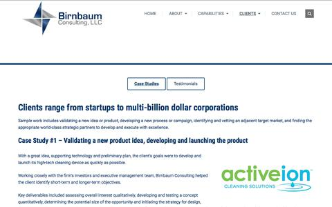 Screenshot of Case Studies Page birnbaumconsulting.com - Case Studies | Birnbaum Consulting. LLC - captured Oct. 10, 2017
