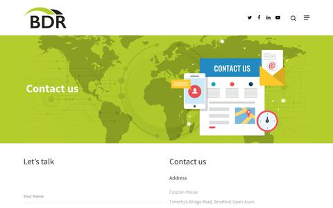 Screenshot of Contact Page bdrgroup.co.uk - BDR Group | Contact Us - captured Oct. 4, 2018