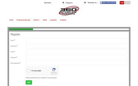 Screenshot of Signup Page 360sportsagency.com - Register New User - captured Aug. 17, 2016