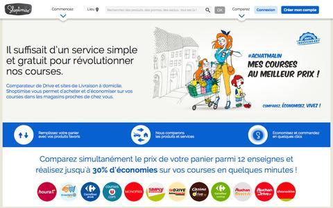 Screenshot of Home Page shoptimise.fr - Shoptimise - Comparateur de drives et supermarchés en ligne - captured Sept. 17, 2014
