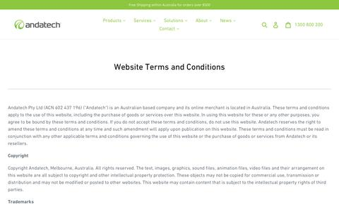 Screenshot of Terms Page andatech.com.au - Website Terms and Conditions - Andatech Australia - captured Nov. 12, 2019