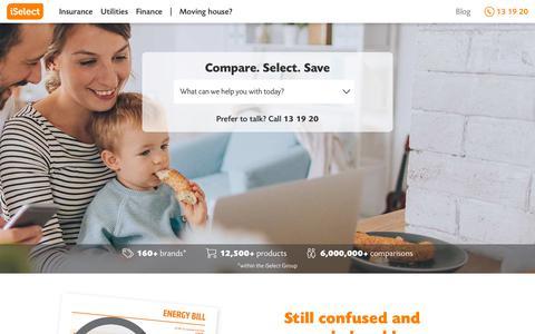 Screenshot of Home Page iselect.com.au - iSelect Australia | Compare & Save on Car, Travel, Life, Home Loans & More. - captured Nov. 18, 2018