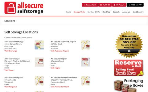 Screenshot of Locations Page allsecure.co.nz - All Secure Self Storage Solutions NZ wide - captured Oct. 3, 2018