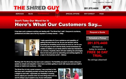 Screenshot of Testimonials Page theshredguy.net - Satisfied Document Destruction Customers Tell All - The Shred Guy - captured Oct. 9, 2014