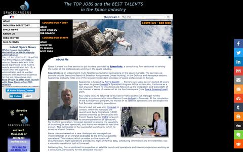 Screenshot of About Page space-careers.com - About Space Careers, the leading space industry recruitment website. - captured July 13, 2018