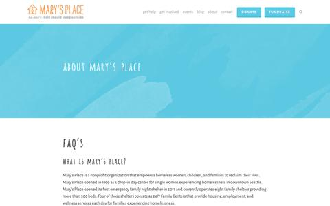 Screenshot of FAQ Page marysplaceseattle.org - FAQs — Mary's Place - captured Nov. 9, 2018