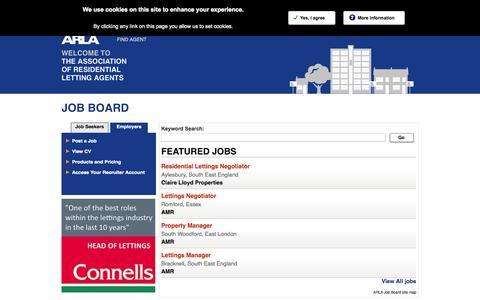 Screenshot of Jobs Page arla.co.uk - Career Centre Jobs - ARLA Job Board - captured Sept. 19, 2014