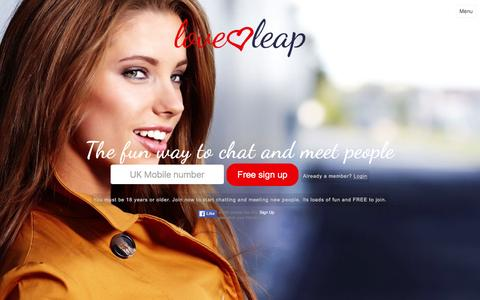 Screenshot of Home Page Menu Page loveleap.com - Loveleap - The fun way to chat and meet people - captured Jan. 21, 2016