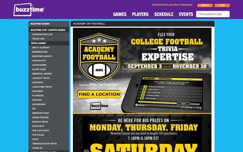 Screenshot of Home Page buzztime.com - Buzztime | Bar Trivia, Live Trivia, Cards & Sports Games - captured Nov. 21, 2015