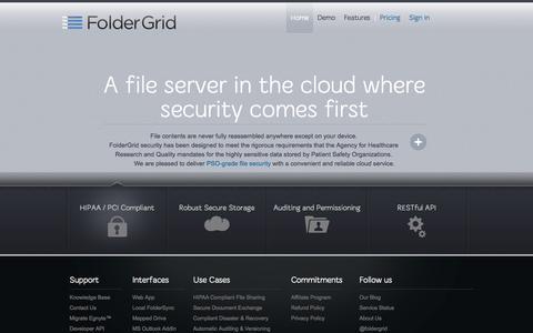 Screenshot of Home Page foldergrid.com - Secure File Server | Cloud File Server | Cloud Backup - captured Oct. 3, 2014