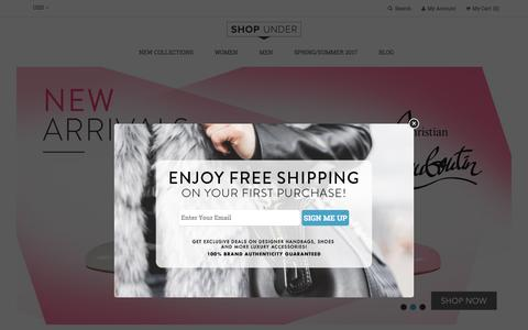 Screenshot of Home Page shopunder.com - Designer Handbags | Sunglasses | Accessories - captured May 27, 2017