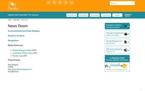 Screenshot of Press Page paxata.com - News Room | Paxata - captured Sept. 17, 2014