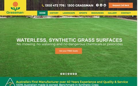 Screenshot of Home Page grassman.com.au - Sydney Artificial Lawn & Fake Grass | Cheap Synthetic Turf Installation Sydney - captured Nov. 13, 2016