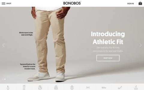 Screenshot of Home Page bonobos.com - Better-Fitting, Better-Looking Men's Clothing & Accessories | Bonobos - captured Jan. 5, 2016
