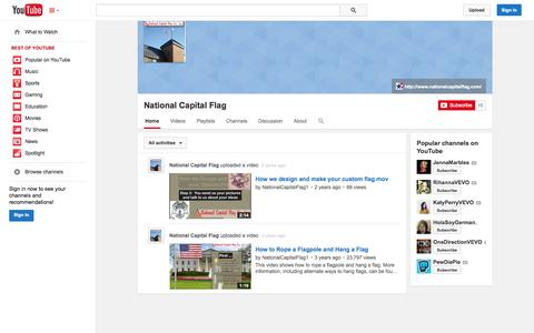 Screenshot of YouTube Page youtube.com - National Capital Flag  - YouTube - captured Nov. 3, 2014