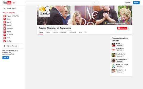 Screenshot of YouTube Page youtube.com - Greece Chamber of Commerce  - YouTube - captured Oct. 22, 2014