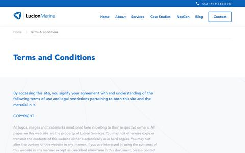 Screenshot of Terms Page lucionmarine.com - Website Terms of Use | Lucion Marine - captured July 24, 2018