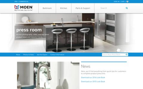 Screenshot of Press Page moen.com - Moen Press Room - captured Dec. 9, 2016