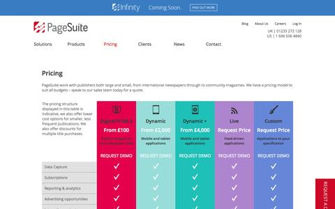 Screenshot of Pricing Page pagesuite.com - Product Pricing | PageSuite - captured Sept. 18, 2014