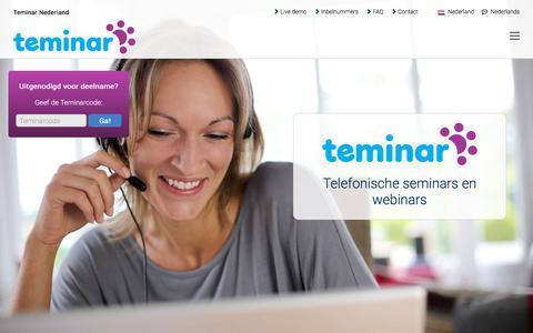 Screenshot of Home Page teminar.nl - Bereik meer klanten met teleseminars en webinars - Teminar Nederland - captured March 4, 2018