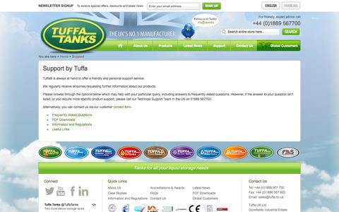 Screenshot of Support Page tuffa.co.uk - Support - captured Oct. 9, 2014
