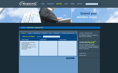 Screenshot of Support Page hawkingtech.com - Product Support_Hawking Technology - captured Jan. 27, 2016
