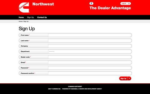 Screenshot of Signup Page cumminsnwdealers.com - Sign Up - captured Jan. 3, 2017