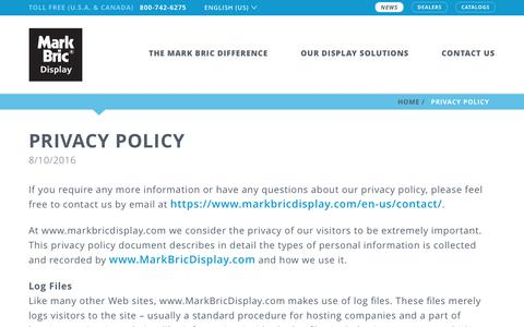 Screenshot of Privacy Page markbricdisplay.com - Privacy Policy | Mark Bric Display - captured June 9, 2017