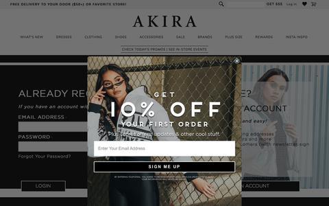 Screenshot of Login Page shopakira.com - Customer Login - captured Oct. 31, 2019