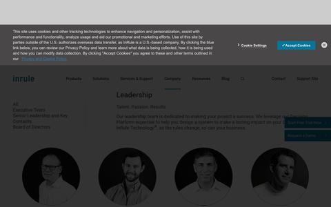 Screenshot of Team Page inrule.com - InRule Leadership | Management Team and Board of Directors - captured March 23, 2019