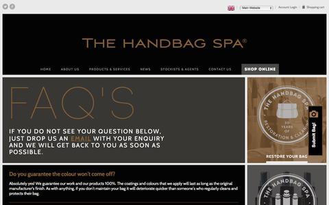 Screenshot of FAQ Page thehandbagspa.com - Frequently Asked Questions | The Handbag Spa - captured Feb. 15, 2016