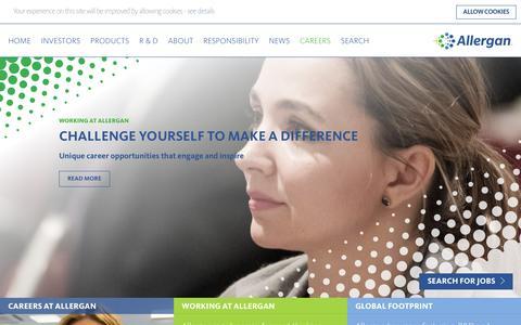 Screenshot of Jobs Page allergan.com - Career Opportunities - Jobs Available - Allergan - Allergan - captured Feb. 12, 2017