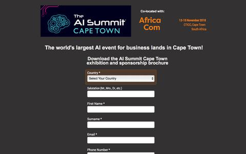 Screenshot of Landing Page knect365.com - AI Summit Cape Town Spex Brochure - captured Sept. 19, 2018