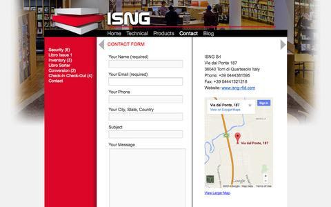 Screenshot of Contact Page isng-rfid.com - Contact | ISNG - captured Oct. 4, 2014