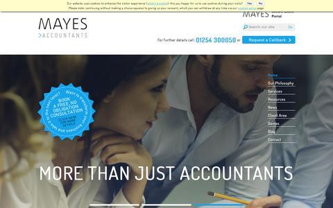 Screenshot of Home Page mayesaccountants.co.uk - Accountants in Accrington, Lancashire - Mayes Accountants - Accrington, Lancashire Accountants - captured Jan. 9, 2016