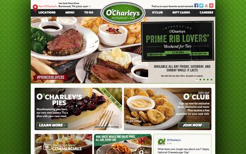 Screenshot of Home Page ocharleys.com - O'Charley's - captured Sept. 19, 2014
