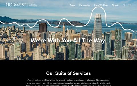 Screenshot of Services Page nvp.com - How We Help • Norwest Venture Partners - captured Oct. 18, 2018