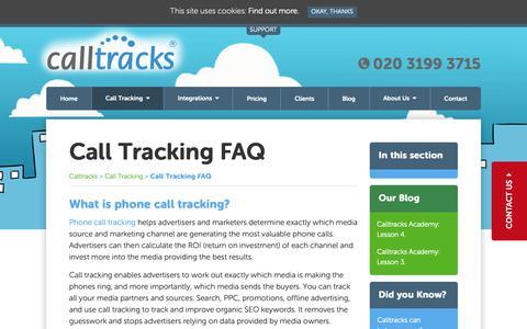 Screenshot of FAQ Page calltracks.com - Call Tracking FAQ | Calltracks - captured Sept. 26, 2018