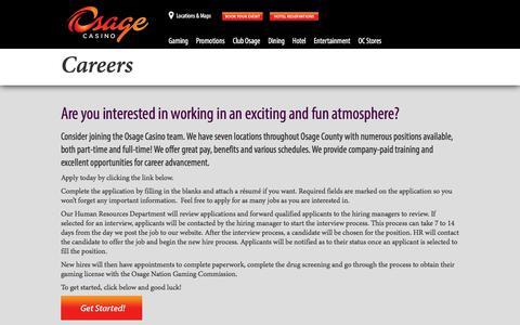 Screenshot of Jobs Page osagecasinos.com - Careers | Osage Casinos - captured June 13, 2017