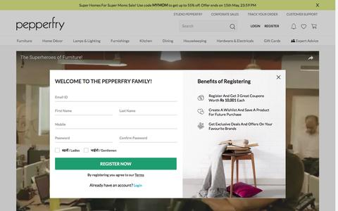 Screenshot of About Page Jobs Page pepperfry.com - About Us - captured May 9, 2017