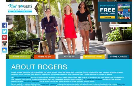 Screenshot of About Page visitrogersarkansas.com - About Rogers | Visit Rogers Arkansas - captured Feb. 5, 2016