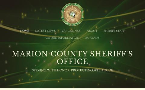 Screenshot of Home Page marionso.com - Marion County Sheriff's Office - captured Aug. 30, 2016