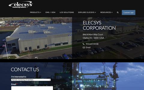 Screenshot of Contact Page elecsyscorp.com - Contact Us | Elecsys Corporation - captured July 23, 2017