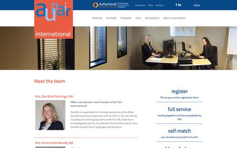 Screenshot of Team Page aupairinternational.nl - Meet the team - Au Pair InternationalAu Pair International - captured Aug. 9, 2017