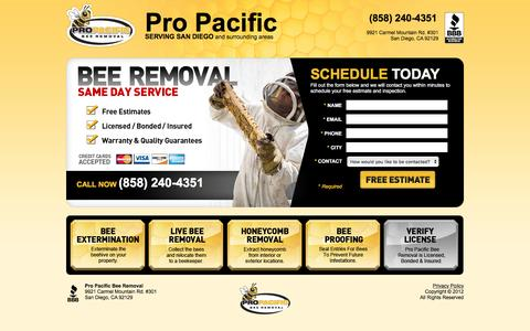 Screenshot of Landing Page propacificpestcontrol.com - Bee Removal | Pro Pacific Bee Removal - San Diego, CA (858) 240-4351 - captured Aug. 18, 2016