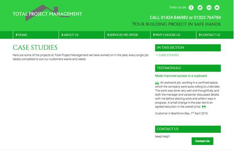 Screenshot of Case Studies Page totalprojectmanagement.co.uk - Case Studies | Gallery | Total Refurbishment | Total Project Management | Building, Extensions, Conversions, Bathroom Installations in Bexhill - captured Dec. 19, 2016