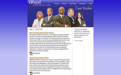 Screenshot of Case Studies Page opxcel.com - OPxcel business performance client case studies - captured Oct. 26, 2014