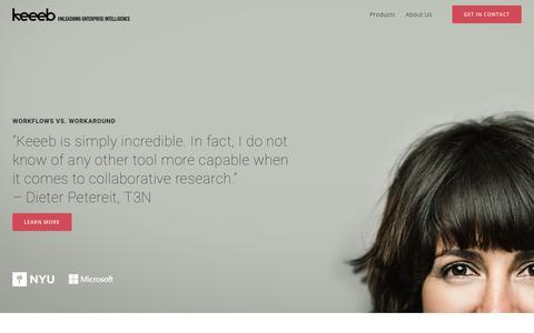 Screenshot of Home Page keeeb.com - Keeeb - Unleashing Enterprise Intelligence - captured July 3, 2018