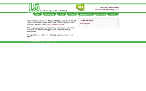Screenshot of Jobs Page 15marketing.co.uk captured Oct. 27, 2014